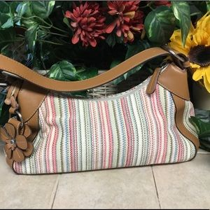Fossil Pastel Striped Canvas Purse